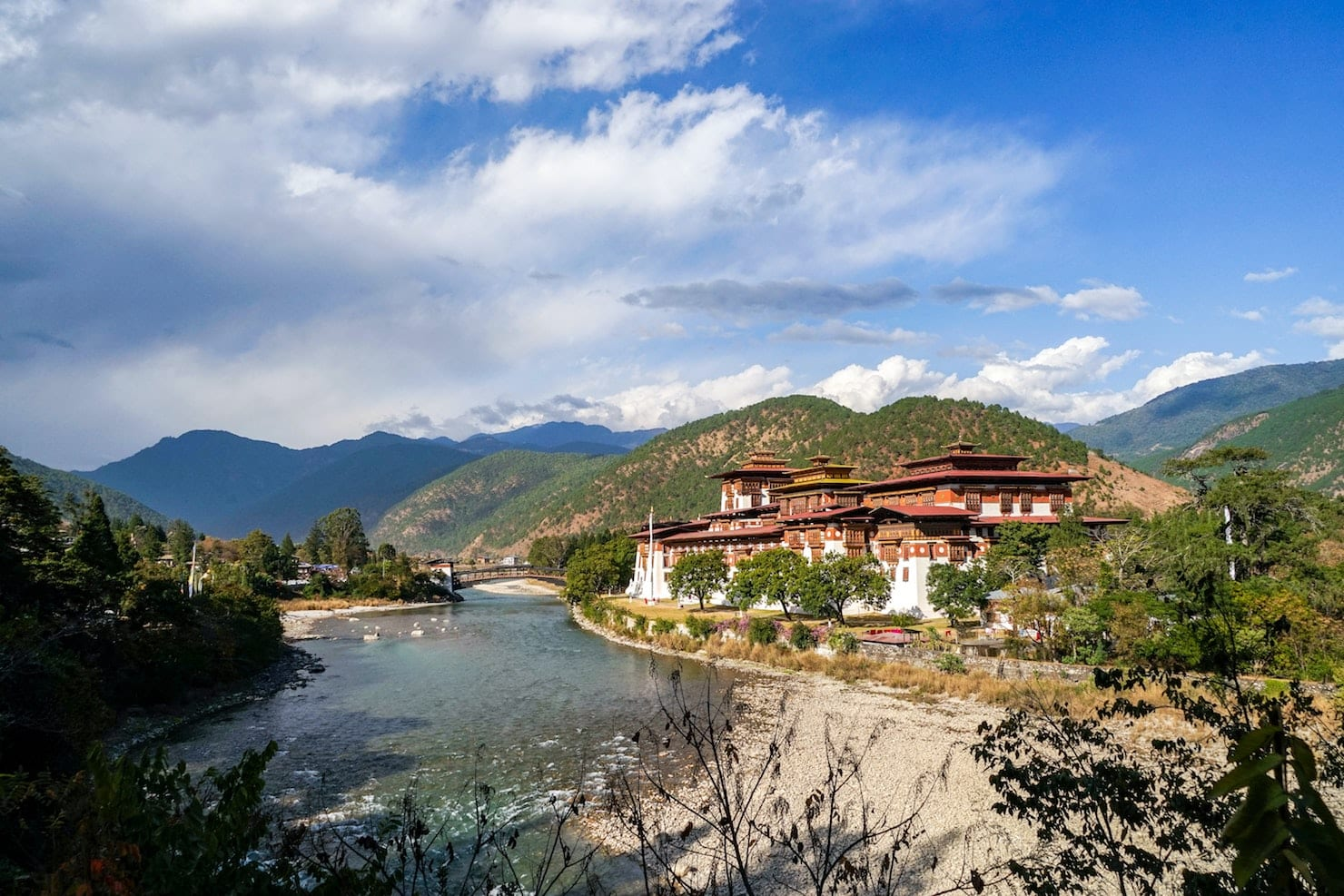 A sprawling scene of tranquility at Paro Dzong, Bhutan, a must-see sight on a Bhutan trip