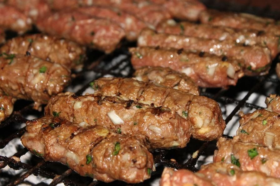 Delicious grilled sausages made of beef and pork