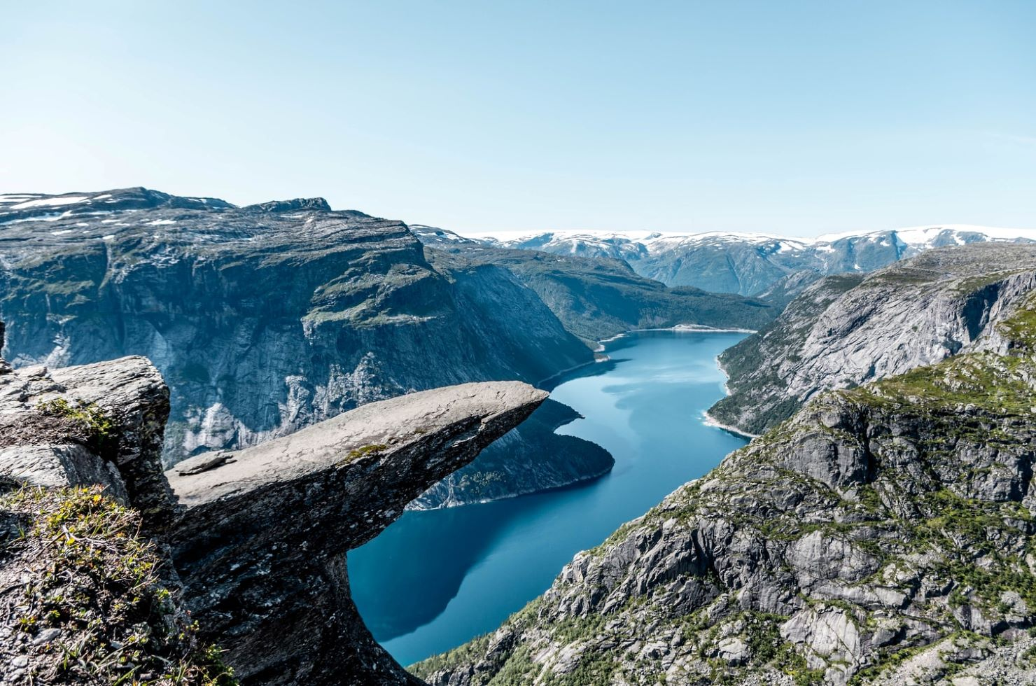 A majestic sight overlooking a fjord and the mountainous terrain in Norway
