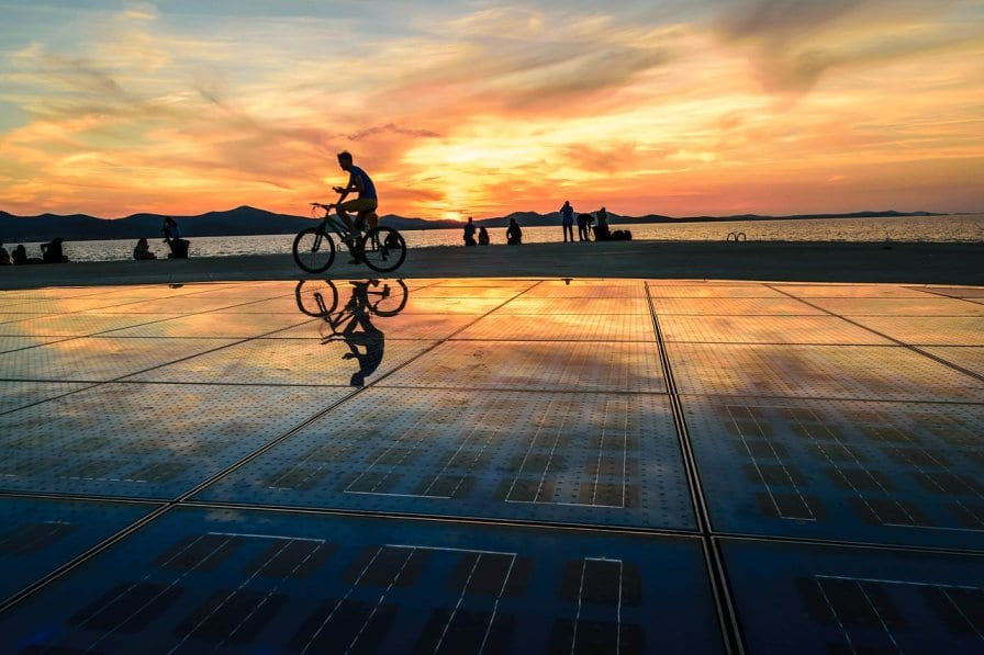 The beautiful orange sunset in Zadar, Croatia