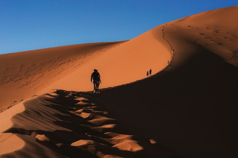 Tourists trek up the highest of the red sand dunes in Sossusvlei, a panoramic sight for all.