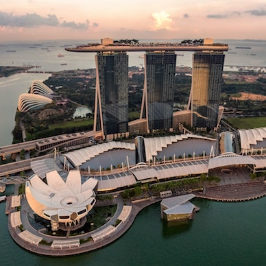 A sun sets over the pristine Marina Bay Sands, Singapore's iconic landmark