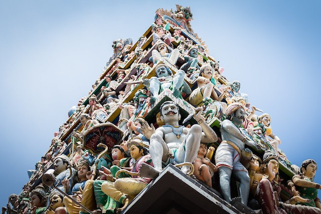 The carvings on Sri Mariamman Temple in Singapore's Chinatown - a reminder of its heritage and history.