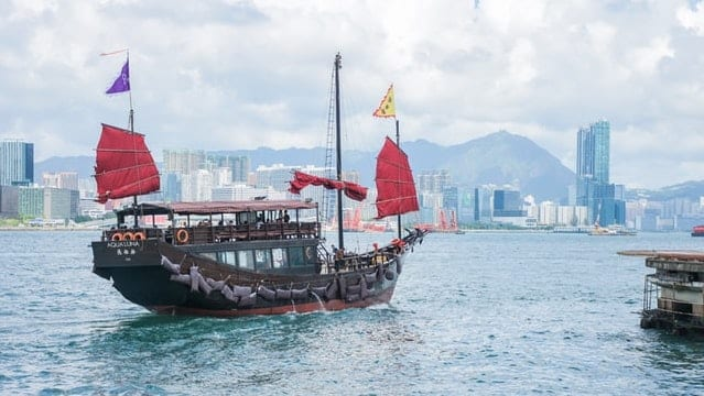 The only original Chinese junk ship in Hong Kong sailing around Victoria Harbour for a sightseeing trip