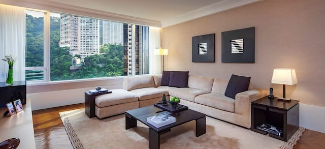 A luxurious and spacious apartment overlooking the city in Hong Kong